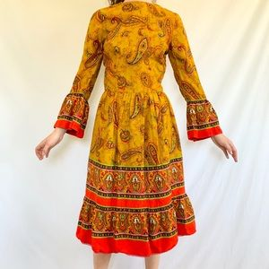 Vintage 70s Handmade Paisley Yellow Midi Dress
